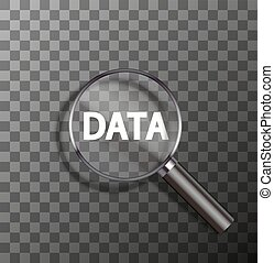 vector word in magnifying glass - vector data word in...