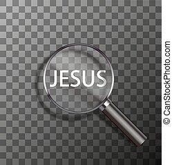 vector word in magnifying glass - vector jesus word in...
