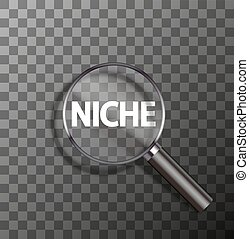 vector word in magnifying glass - vector niche word in...
