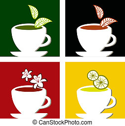 colorful square tea labels composition - Four different tea...