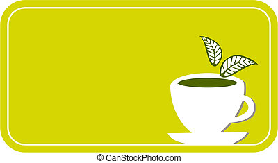 tea cup label - Lemon yellow label with a white cup of tea...