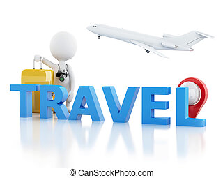3d man tourist with travel suitcases and camera - 3d White...