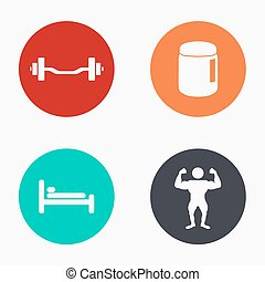 Vector modern sport colorful icons set
