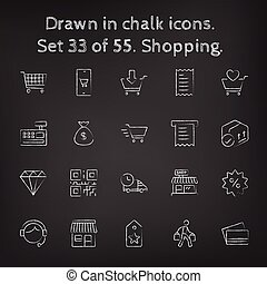Shopping icon set drawn in chalk.