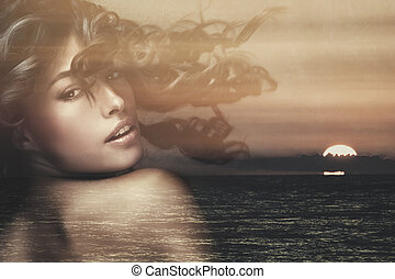double exposure woman - beautiful exotic tanned woman with...