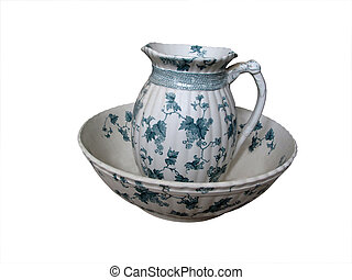 Wash bowl and jug - An old wash bowl with jug, floral design...