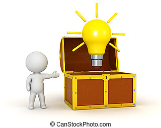 3D Character Showing Open Treasure Chest with Light Bulb - A...