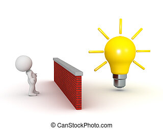 3D Character Looking at a Large Light Bulb Over a Wall
