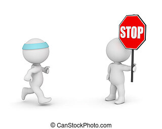 3D Character Jogging and Character with Stop Sign - 3D...