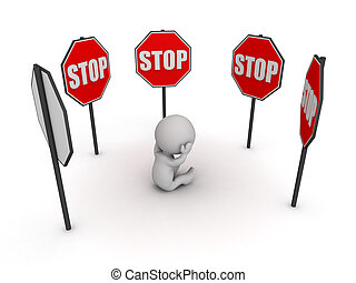 3D Character Stressed Surrounded by Stop Signs - 3D...