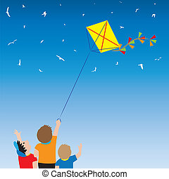 Children with a kite and birds in the sky. - Children with a...