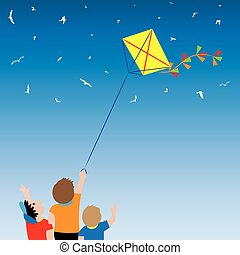 Children with a kite