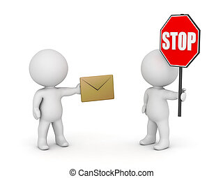 3D Characters with Envelope and Stop Sign - Stop Email Spam...