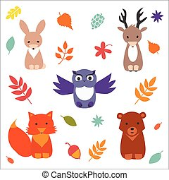 Forest Animals - Set of cute forest animals Vector flat...