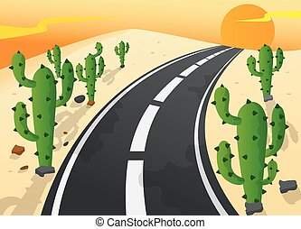 Asphalt road in sand desert - Vector Illustration Of Asphalt...