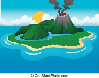 volcanos and a small lake island - Vector Illustration Of...