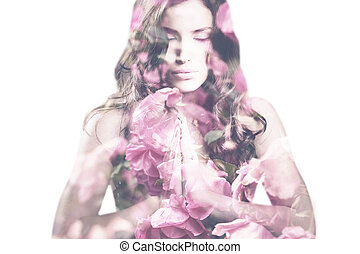double exposure woman - beautiful young woman with roses...