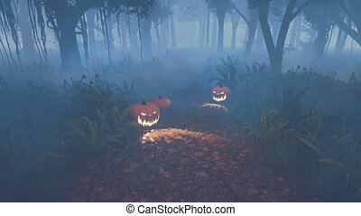Halloween pumpkins on forest trail - Jack-o-lanterns on the...