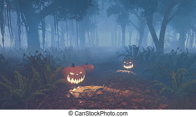Halloween pumpkins in scary forest - Jack-o-lanterns on the...