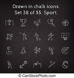 Sport icon set drawn in chalk. - Sport icon set hand drawn...