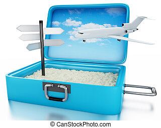3d Travel suitcase. Summer holidays concept