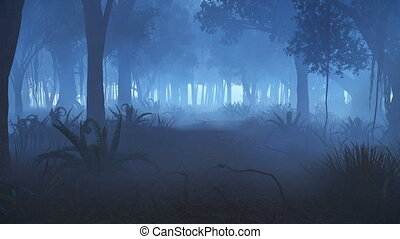 Motion through misty night forest - Motion through creepy...