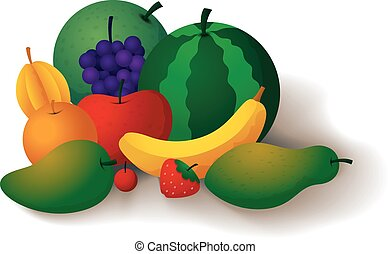 Fruits are refreshing and healthful - Vector Illustration Of...