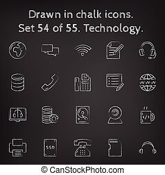 Technology icon set drawn in chalk. - Technology icon set...