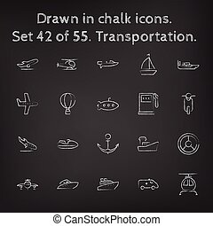 Transpotration icon set drawn in chalk. - Transpotration...