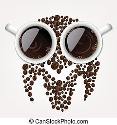 coffee beans forming an owl symbol - Vector Illustration Of...