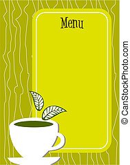 Lemon tea Menu cover with cup and leaves - Lemon yellow menu...
