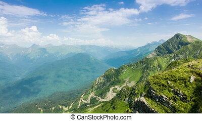 Kaukaz Mountains Time Lapse - Kaukaz mountains blue sky and...