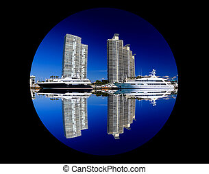 The high-rise buildings in Miami Beach