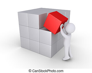 Person finalizing cube construction - Person is putting the...