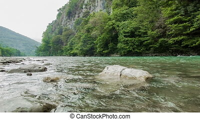 Mountain River And Stones - Fast mountain river with stones...