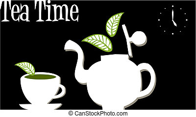 Tea Time: Teapot and cup of tea - White teapot and cup over...