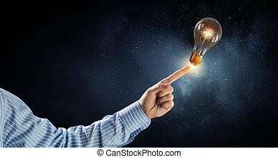 光, 燈泡, 手