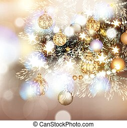 Christmas illustration with Christmas tree in lights, golden and silver  baubles and different decorations