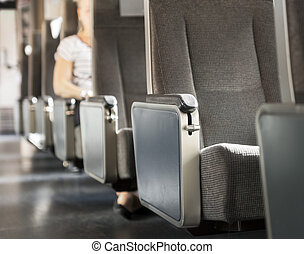 Row of seats in train