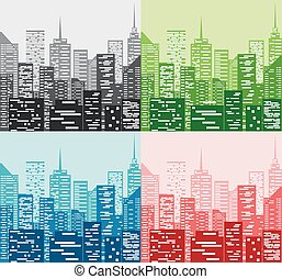 City skyline in four color - Vector Illustration Of City...