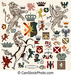 Collection of high detailed - Heraldic set of design...