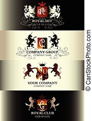 Collection of luxury vintage templates logotype set business sign identity for restaurant royalty boutique menu and labels