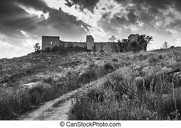 old castle - Ancient ruins of an old castle located in...