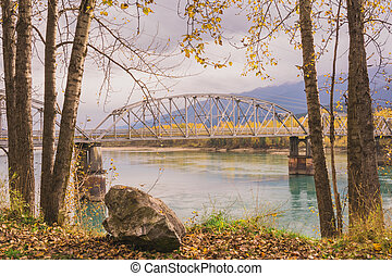 Big Eddy Bridge in Autumn - Landscape of Revelstokes Big...