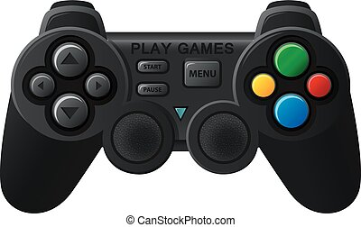 Black joystick with diferent button - Vector Illustration Of...