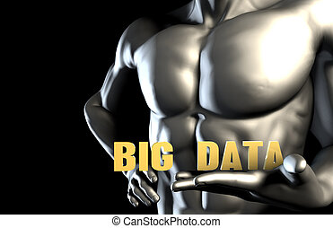 Big data With a Business Man Holding Up as Concept