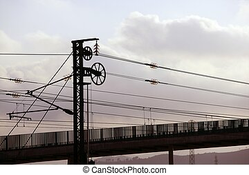 Cables and pole tower electric train railway