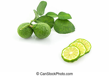 Kaffir Lime (Bergamot). - Kaffir Lime (Bergamot) on white...