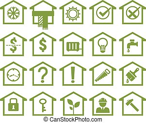 house icons, different aspects of real property