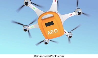 Ambulance drone delivers AED kit for emergency medical care...